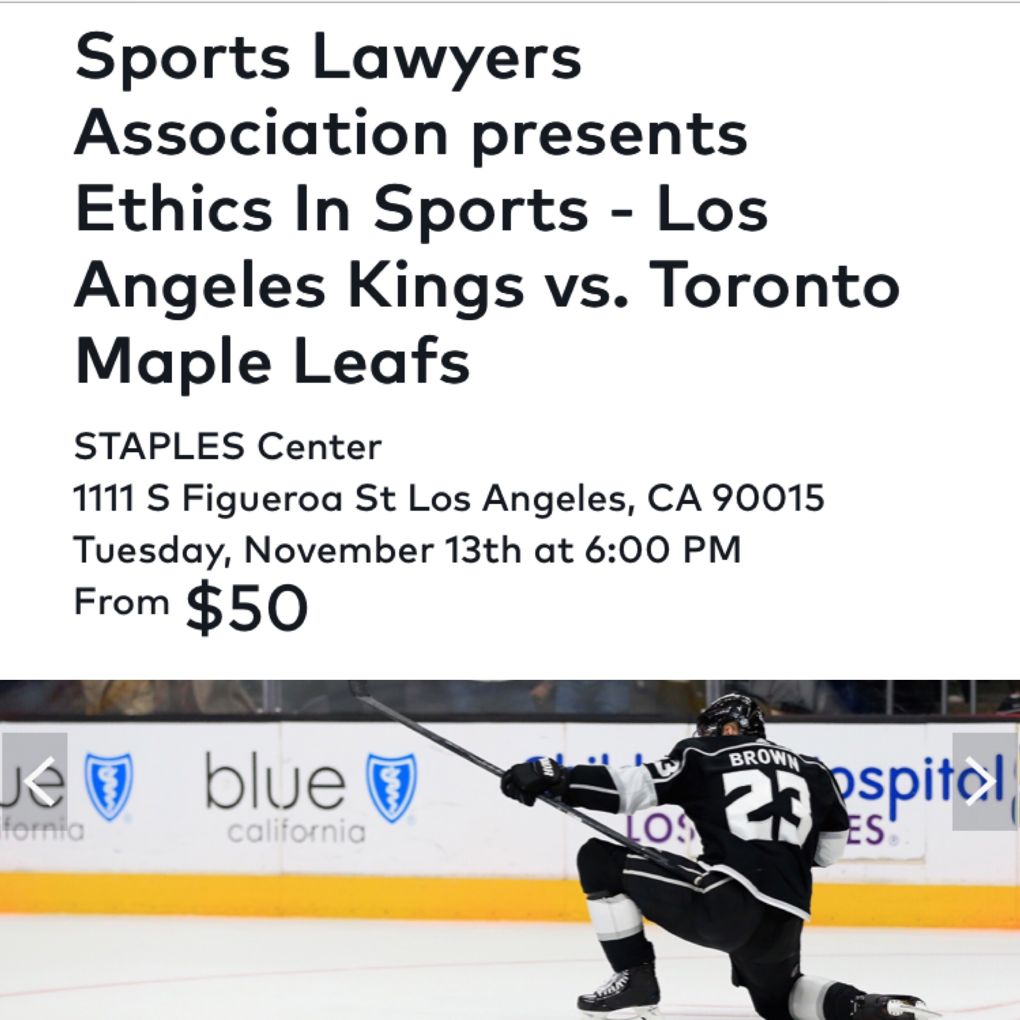 Jeremy Evans on Ethics in Sports Law Panel with LA Kings at STAPLES Center