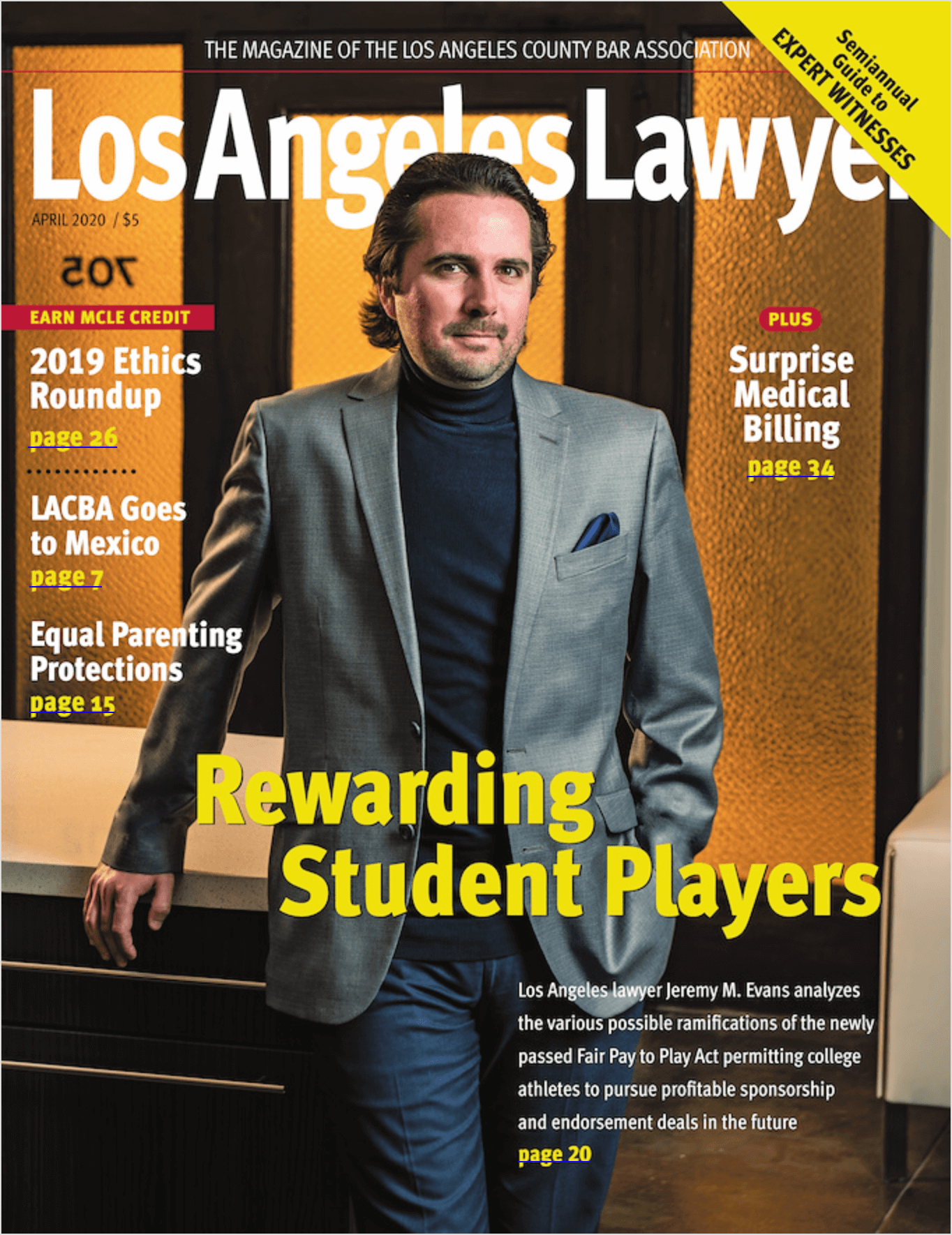 Jeremy Evans on the cover of Los Angeles Lawyer: Rewarding Student Players