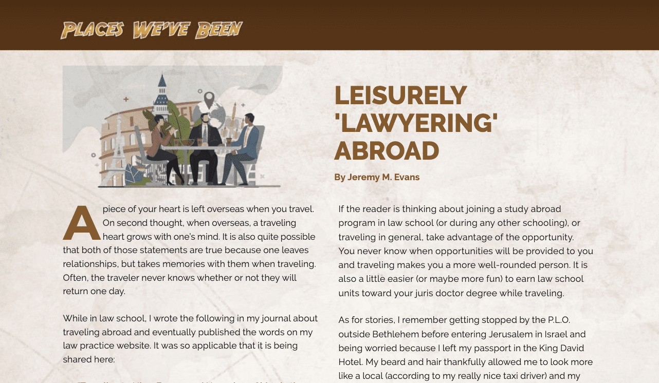 Leisurely 'Lawyering' Abroad